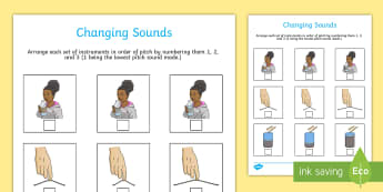 Changing Sound Activity Sheet - sound, science, pitch, worksheet, volume, high, low, hearing, changing sounds, senses,