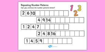 Repeating Pattern Activity Sheets (Numbers) - Repeating patterns, repeat, repeating, number repeating pattern, numbers, number, pattern, patterns