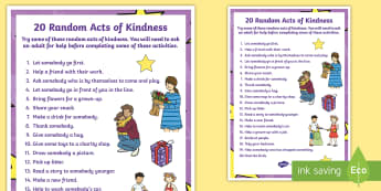 KS1 Random Acts of Kindness Display Poster - World Kindness Day, Anti-Bullying Week, Kindness, Friendship, Caring