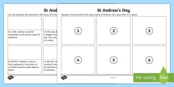 St. Andrew's Day Sequencing Activity Sheet - Scotland, Saint, Patron Saint, 30th November, Scottish event,Scottish