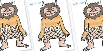 Connectives on Wild Thing (1) to Support Teaching on Where the Wild Things Are - Connectives, VCOP, connective resources, connectives display words, connective displays
