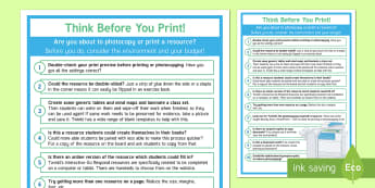 Think Before You Print A2 Display Poster - Printing, photocopying, environmentally friendly, eco, resources, reducing waste,  reproduction, bud