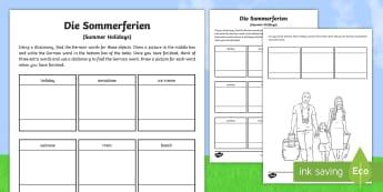 German Holiday Words Dictionary Activity Sheet - Holiday, German, Urlaub, Dictionary, MFL, Deutsch, Languages, worksheet