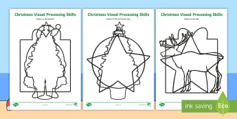 Christmas Visual Processing Skills Activity Sheets - christmas, visual processing skills, identification, colouring, visual processing, worksheet