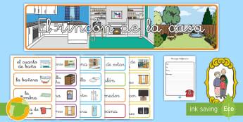 * NEW * Pack de recursos: El rincón de la casa - Pack de recursos, casa, casas, la casa, hogar, hogares, el hogar, familia, la familia, el dormitorio