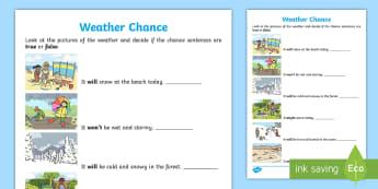 Year 1 Weather Chance Activity Sheet - Mathematics, Year 1, Statistics and Probability, Chance, ACMSP024, weather, it will happen, it won'