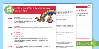 Cfe First Level Take It Outside: Rainbow Treasure Hunt Activity - Outdoor, Learning, Literacy, Science, Investigate, experiment, Woodland, find,Scottish