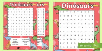 Dinosaur Wordsearch - dinosaur, word search, word games, games