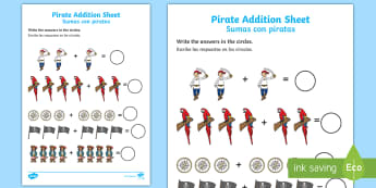 Pirate Addition Activity Sheet English/Spanish - EAL, Pirate Addition Sheet - pirate, pirates, pirate addition, pirate addition worksheet, pirate cou