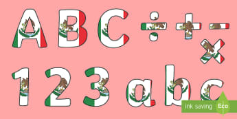 Mexican Flag Display Lettering - Mexican Flag, Mexico, Social Studies, Bulletin Board, Display, North America