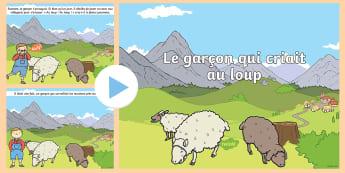PowerPoint : Le garçon qui criait au loup - conte, village, mensonge, vérité, menace, cycle 1,French