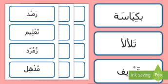 بطاقات عرض كلمة، السنة الثانية عن موضوع الربيع: كلمة اليوم Arabic- - المرحلة الرئيسية الولى، اللغة الإنجليزية، كلمة اليوم،