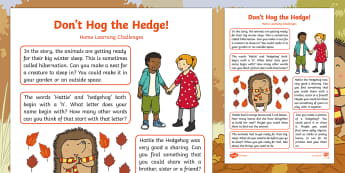 Don't Hog the Hedge! Home Learning Challenges Reception FS2 - Early Years, foundation, EYFS, Twinkl Originals, fiction, homework, home learning, home school links