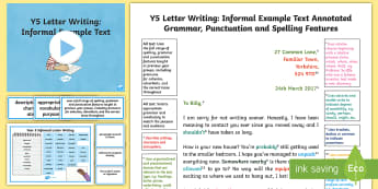 Y5 Letter Writing: Informal Model/ Example Text - Example Texts Y5, letter, informal, letter writing, model, example, reading inference, mystery, stor