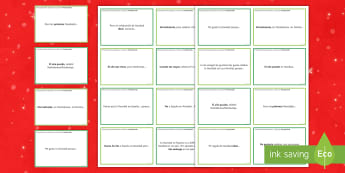 General Conversation Christmas Question Prompt Cards Spanish - speaking, christmas, describing, help, practice