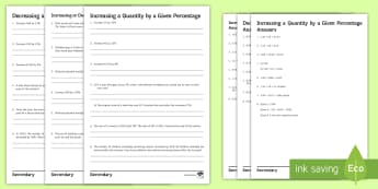 Increasing and Decreasing a Quantity by a Given Percentage Activity Sheets - decimal Multiplier, worded questions, VAT, Sale, Mutliplier worksheet