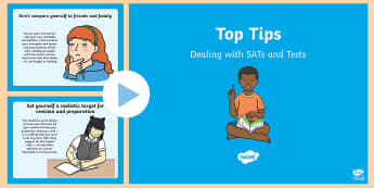 Top Tips Dealing with SATs and Tests  PowerPoint - Top Tips Dealing With SATs and Tests - top tips, dealing with sats, dealing with tests, tips, SATs,