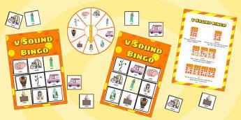 v Sound Bingo Game with Spinner - v, sound, sound, bingo, game