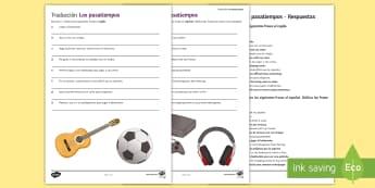 Hobbies Translation Activity Sheet Spanish - sentences, free, time, worksheet, translating, sports