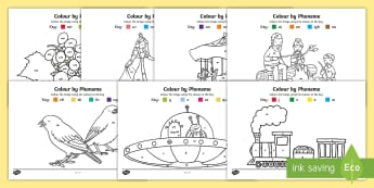 Colour by Phoneme Phase 3 Colouring Pages - colour, phonemes, train, phase 3, letters and sounds phase 3, letters, Letters& sounds, colouring pa