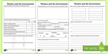 KS1 Plastics and the Environment Differentiated Activity Sheet - plastics in the sea, dangers of plastic, pollution, biodegradable, global warming, damage to the pla