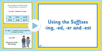 Using the Suffixes ing er est and ed Lesson Teaching PowerPoint