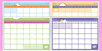 2018 Monthly Calendar Planning Template - class planner, calendar, 2018, organisation, teacher planner, months, year,
