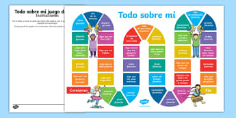 All About Me Board Game Spanish-Spanish