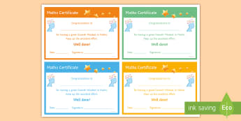 Maths 'Growth Mindset' Certificate - Rewards, Learning, Positive, Praise, Award, Certificate, Recognition