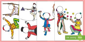 Circus Themed Editable Face Cut-Outs - circus craft, big top, clowns, ringmaster, acrobats, juggler, trapeze, tightrope, small world, actin