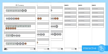US Currency Bills and Coins Differentiated Go Respond Activity Sheets - coins, bills, US currency, money, dollar, penny, nickel, dime, quarter