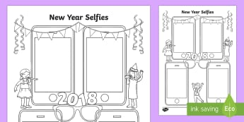 New Year Selfies Activity Sheet - Photograph, drawing, Portrait, Mobile Phone, Camera, Fun, Art, Colouring, Worksheet