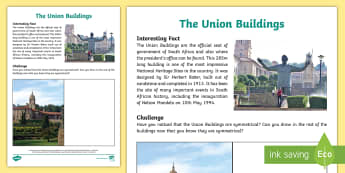 The Union Buildings Activity Sheet - an amazing fact a day, symmetry, buildings, union buildings, Government, presidents office, pretoris