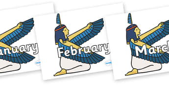 Months of the Year on Egyptian - Months of the Year, Months poster, Months display, display, poster, frieze, Months, month, January, February, March, April, May, June, July, August, September