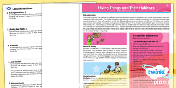 Science: Living Things and Their Habitats Year 5 Planning Overview CfE