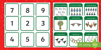 Twelve Days of Christmas Number Matching Activity