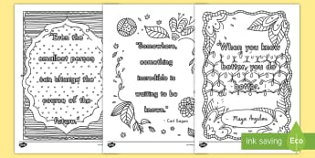 Classroom Inspirational Quotes Mindfulness Coloring Activity Sheets - quotes, color, coloring, insprirational, classroom, art, worksheets