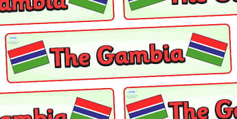 The Gambia Display Banner - The Gambia, Olympics, Olympic Games, sports, Olympic, London, 2012, display, banner, sign, poster, activity, Olympic torch, flag, countries, medal, Olympic Rings, mascots, flame, compete, events, tennis, athlete, swimming