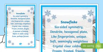 KS2 Snowflake Poem - poem, poetry, winter, snowflake, poetry analysis