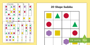 2D Shape Sudoku - shapes, 2D shapes, number games, maths, number