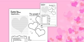 Valentine's Day Worksheet Romanian Translation - romanian, worksheets, worksheet, work sheet, valentines day, valentines, valentines worksheet, acrostic poem worksheet, people I love worksheet, sheets, activity, writing frame, filling in