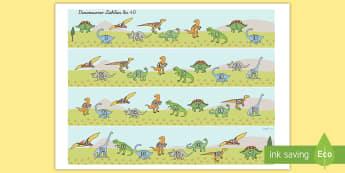 Dinosaurier Zählen bis 40 Aktivität - Dinosaurier Zählen bis 40 Arbeitsblatt, Dinosaurier, Dino, Zählen bis 40, Zählen, Nummern Klassen