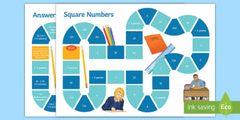 Finding and Identifying Square Numbers Board Game - Square Numbers, Square Roots, Indices, Powers