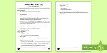 Whole-School World Maths Day Activity Overview - world maths day, ideas, suggestions, lesson ideas