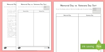 Memorial Day vs. Veterans Day Activity Sheet - Worksheet, Holiday, Veterans Day, Memorial Day, Soldiers, USA Holidays