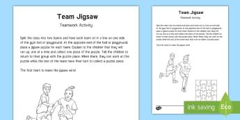 Team Jigsaw Team-Building Game - gym, pe, activity, skills, challenge, team, team challenge