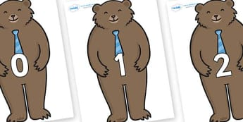 Numbers 0-31 on Daddy Bear - 0-31, foundation stage numeracy, Number recognition, Number flashcards, counting, number frieze, Display numbers, number posters