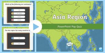 Asian Region PowerPoint Pop Quiz - ACHASSK138, Year 6, AC, Geography, formative assessment, prior knowledge,Australia