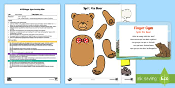 EYFS Split Pin Bears Finger Gym Plan and Resource Pack - split pins, bear, teddy, moving bear, craft, fine motor control, finger gym, funky fongers, coordina