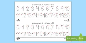 Traza los números del 1 al 20